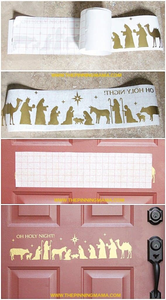 How adorable is this Nativity scene on the door!? Love this idea!