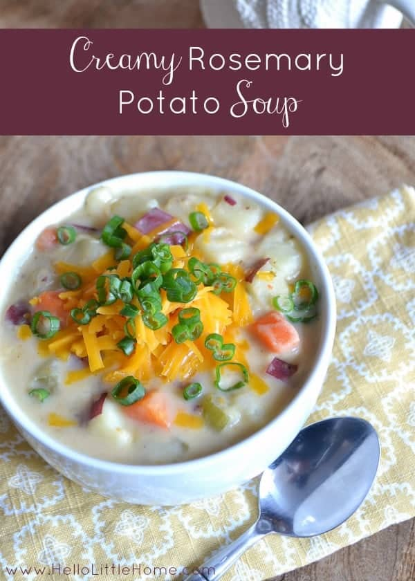 This Creamy Rosemary Potato Soup is the perfect treat on a cold winter night! | Hello Little Home for The Pinning Mama