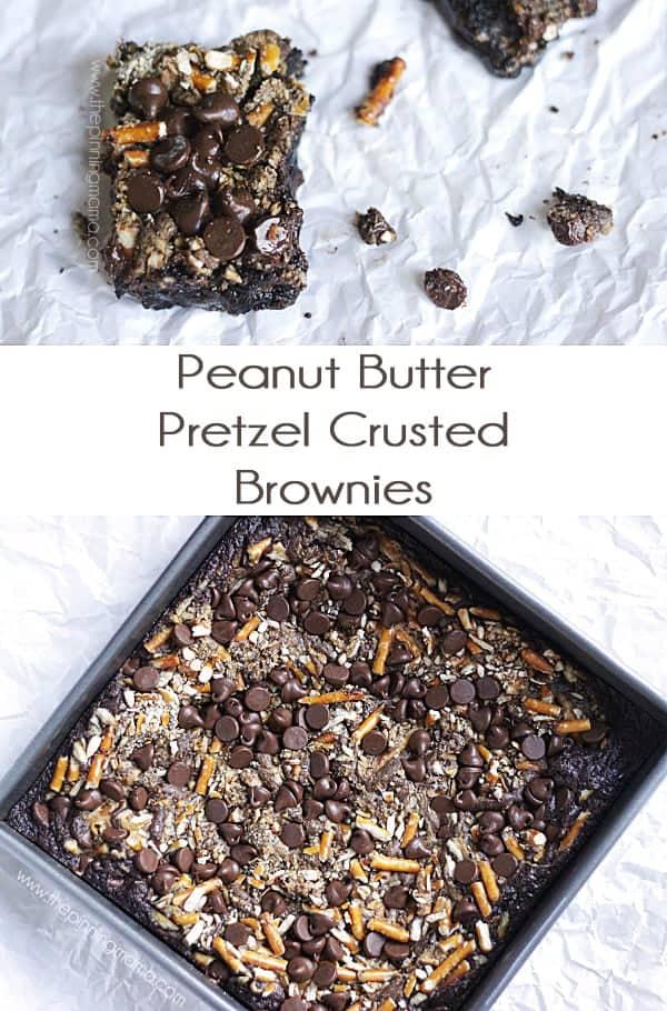 Peanut Butter Chocolate Pretzel Brownie Bars - Make a box mix turn gourmet in 10 minutes! Recipe via thepinningmama.com
