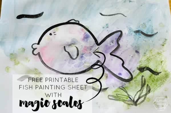 Get this free printable kid's painting sheet and watch the scales magically appear on it as you paint! The kids will love it!