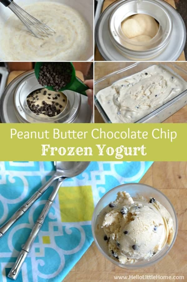 This delicious Peanut Butter Chocolate Chip Frozen Yogurt is an easy to make summer treat! | HelloLittleHome.com for The Pinning Mama