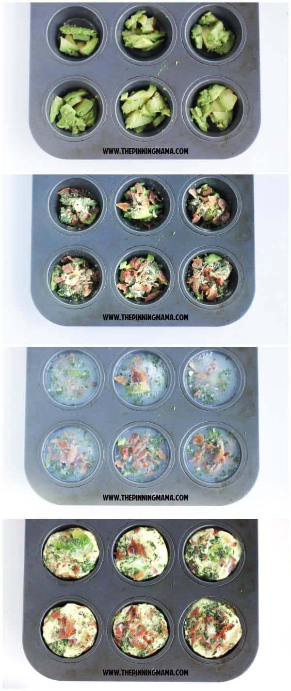 Bacon Avocado Ranch Egg Muffins- perfect easy breakfast on the go. Paleo, whole30 compliant, gluten free, dairy free recipe.