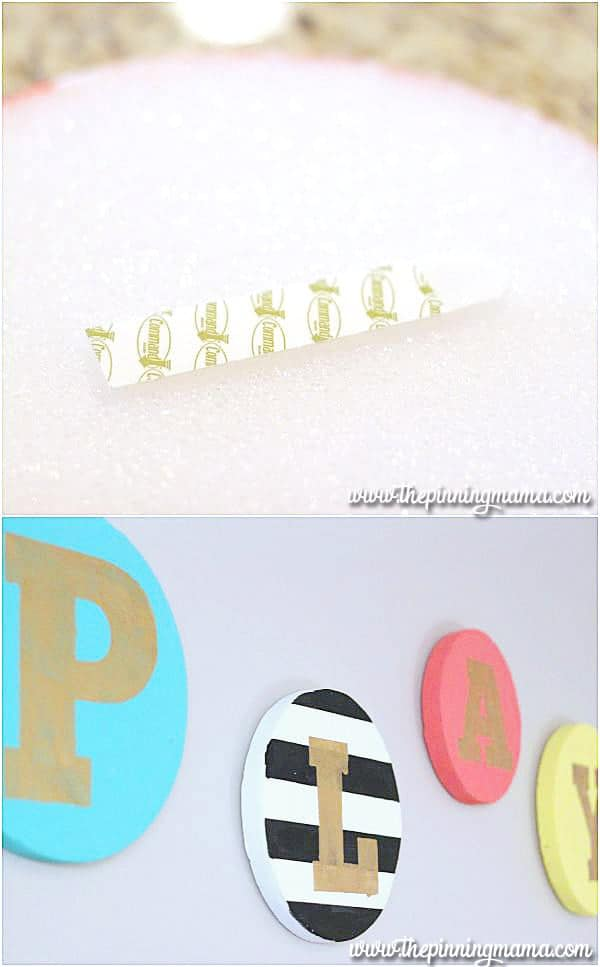 This DIY decorative playroom sign is surprisingly lightweight!
