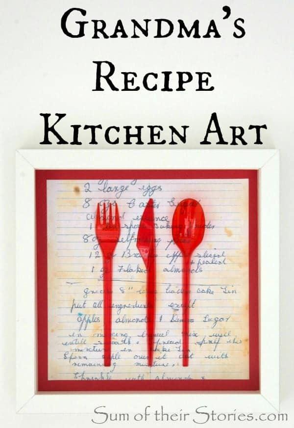 Grandma's recipe art for the kitchen