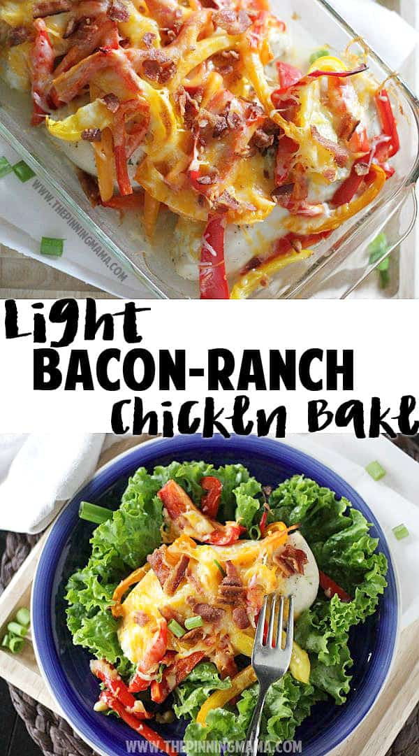 A light version of the Bacon Ranch Chicken Bake pinned over 150,000 times! Delicious one dish dinner recipe!