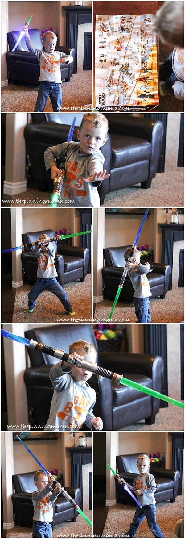 Expandable Star Wars Light Sabers can connect to make a double light saber or even more!  Cool christmas gift idea for a little boy!