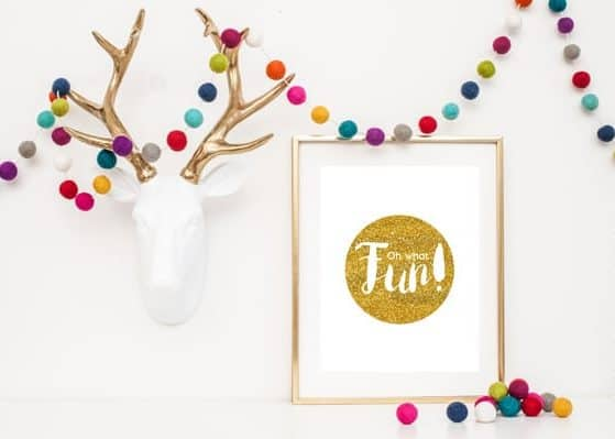 Get this STUNNING Gold Glitter Oh What Fun Christmas Printable for FREE! Download available for a limited time!