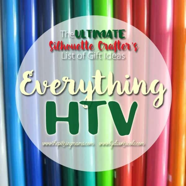 All the supplies you need to do heat transfer vinyl (HTV) projects with your Silhouette CAMEO.  This list is SERIOUSLY AMAZING!! Pinning for reference.