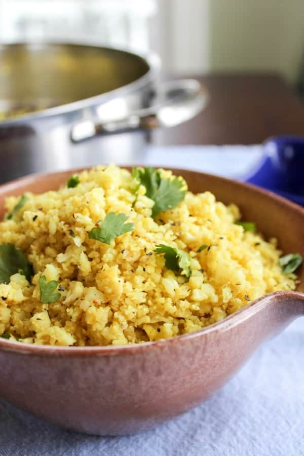 Indian cauliflower rice recipe - low carb, gluten free side dish option. Love the indian flavors!!