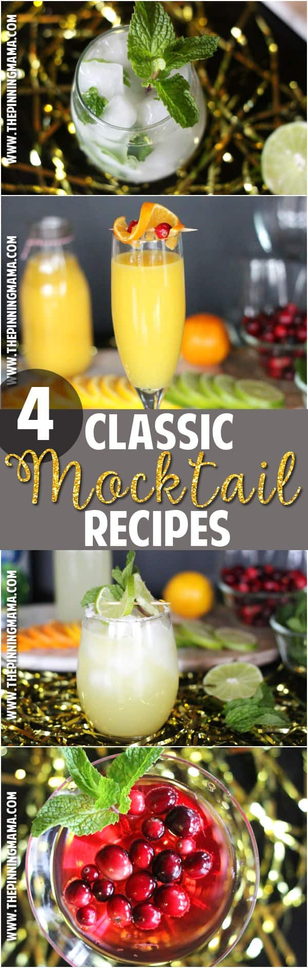 4 virgin drink recipes - Perfect for those that don't drink to have a fun and festive non-alcoholic drink option at a party.