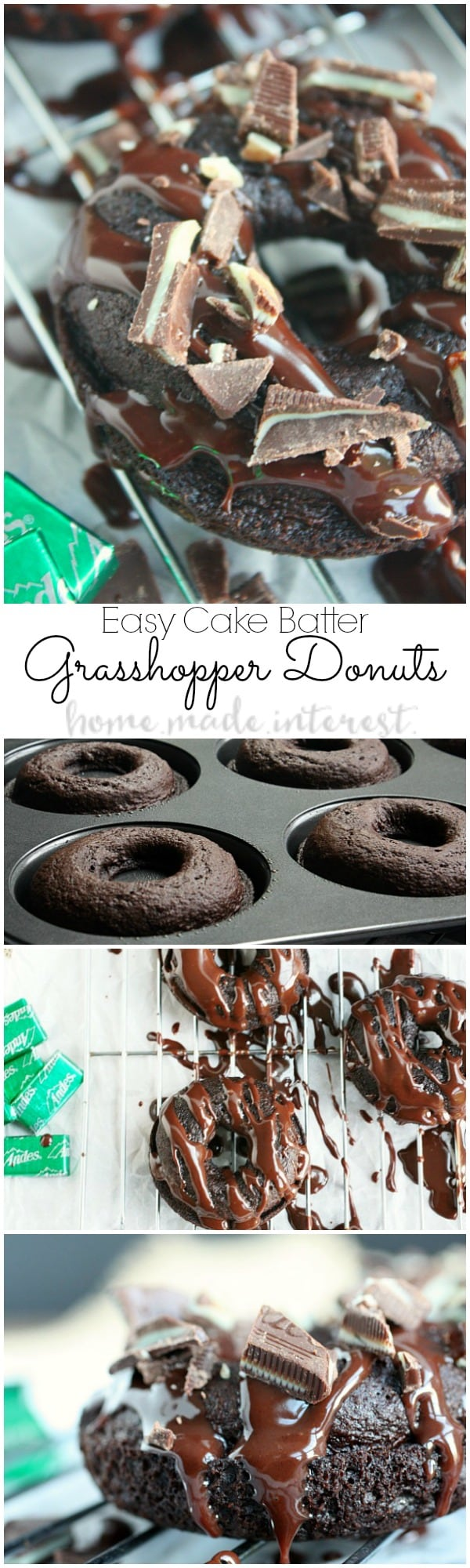 These grasshopper donuts are just the right mix of chocolate and mint. This is an easy dessert (or breakfast!) recipe for St. Patrick's day!