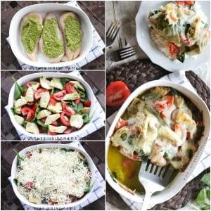 Step by Step How to make Easy Pesto Spinach Artichoke Chicken Bake Recipe