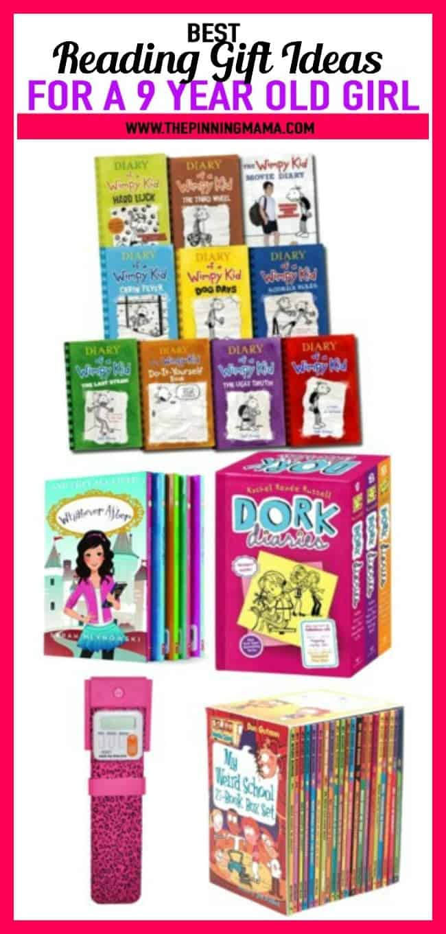 Best Ideas for a 9 year old girl who loves to read- includes Diary of a wimpy kid, Bookmark timer, and other great book sets