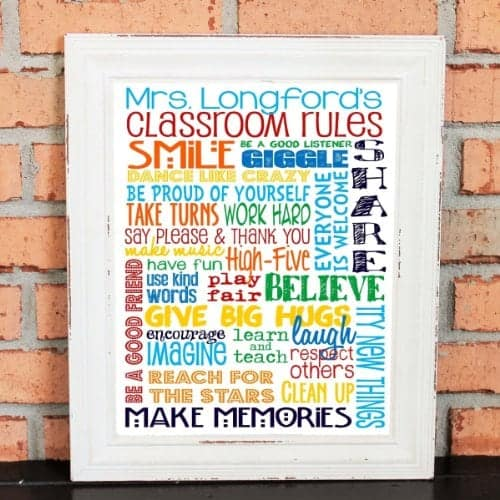10+ Smarter Gift Ideas Teachers will Love: Personalized Classroom Rules | www.thepinningmama.com