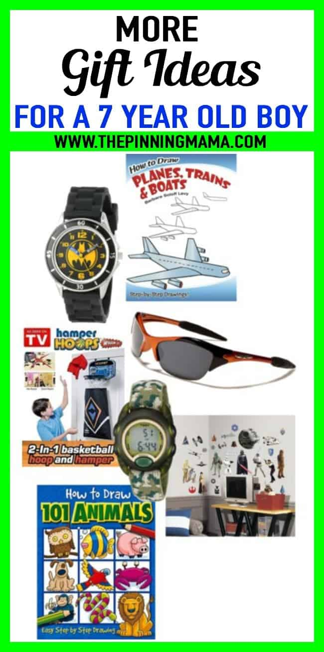Best gift ideas for a 7 year old boy. More than 30 ideas including watches, sun glasses, drawing books, wall decals and more! These are Great ideas for birthday presents and Christmas presents