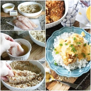 This easy one dish ranch baked chicken is the PERFECT dinner! It is quick, easy, and everyone loves it! The chicken is coated in ranch flavored cracker crumbs and baked to perfection in a casserole dish. The chicken is tender and juicy and the cracker crust topping is crispy and flavorful. It is like grown up fried chicken!