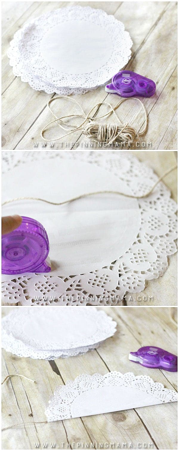 DIY Doily Garland - This quick and easy craft project is only 3 steps and makes really stunning vintage, shabby chic decor for a wedding, bridal shower, baby shower or birthday party!  It is even inexpensive to make since doilies are so cheap to buy in bulk!  So simple and pretty!