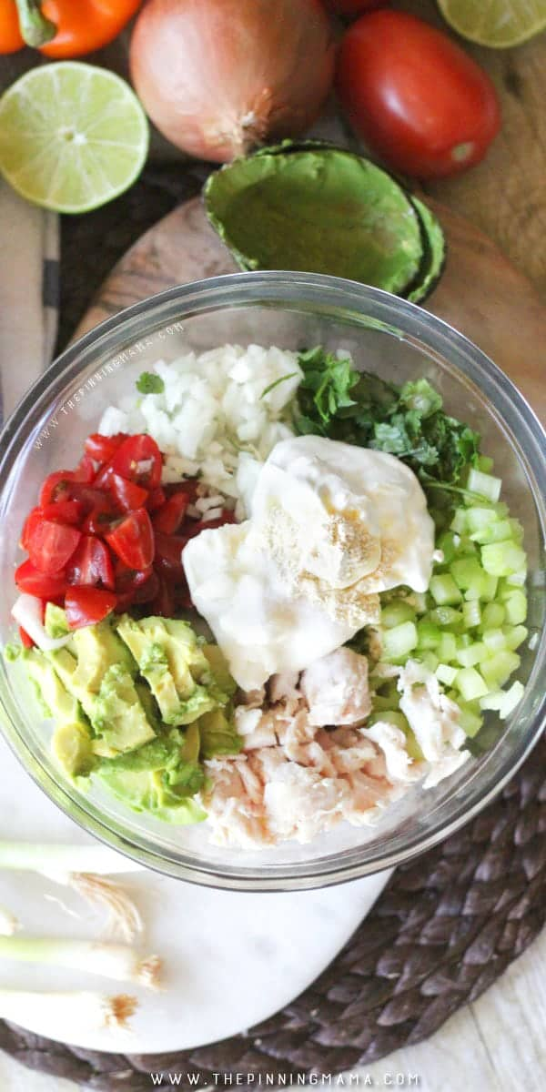 Guacamole Chicken Salad Recipe - This is EPIC! Perfect as an appetizer idea for watching football or to pack in a lunch box. You can literally make this for anything!
