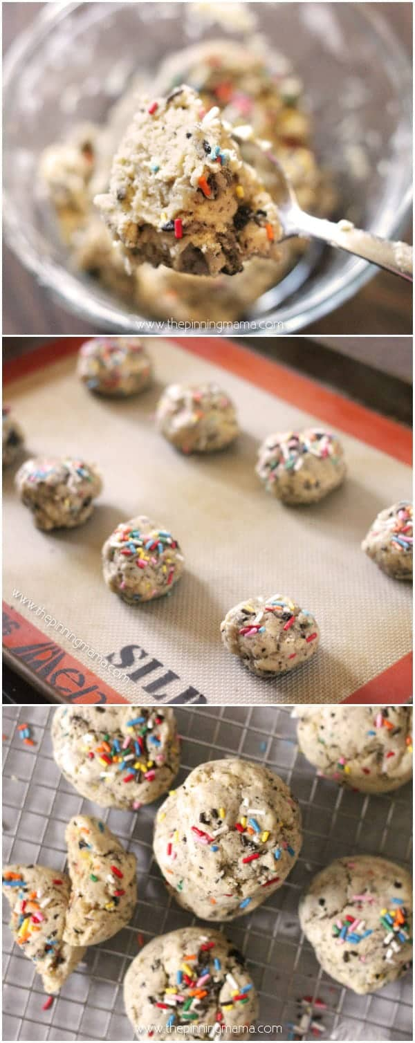 TIP: To get perfectly soft, thick, and chewy, keep a good eye on them at the end of the baking time. You want to remove them from the oven when they are just set in the middle, not golden brown all over. I usually can tell because the cookie looses it's