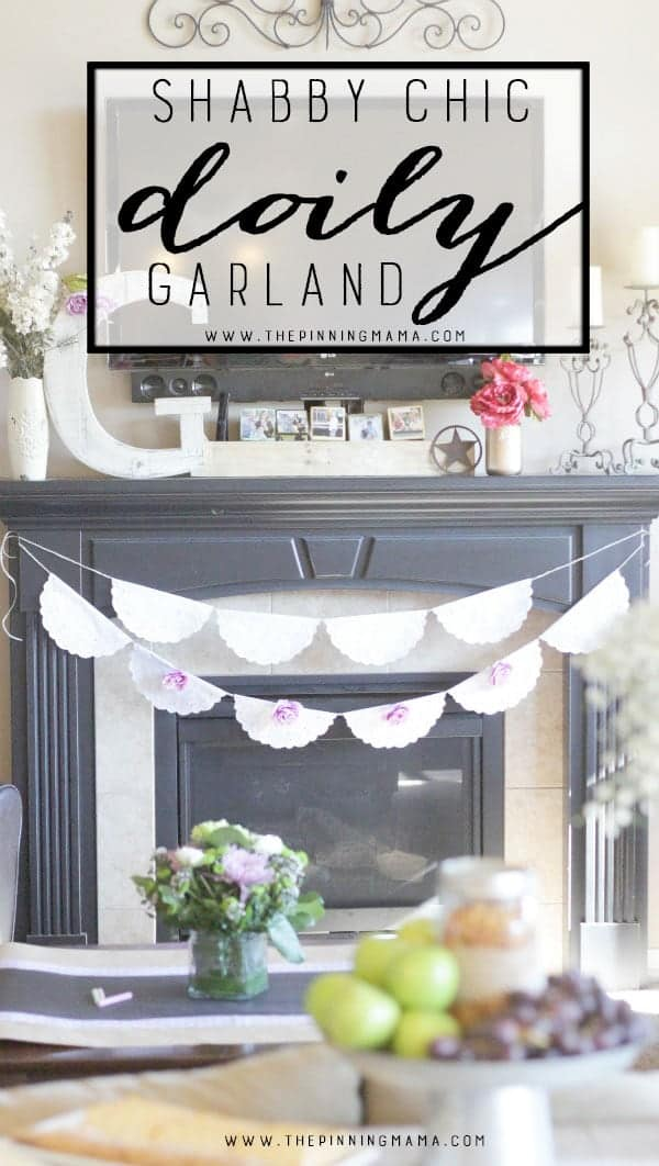 DIY Shabby Chic Doily Banner -Perfect easy DIY decor for vintage or shabby chic themed weddings, bridal shower, baby shower, or birthday party.  The simple white doilies make it perfect to match any colors or theme and it is quick and easy craft idea to make!