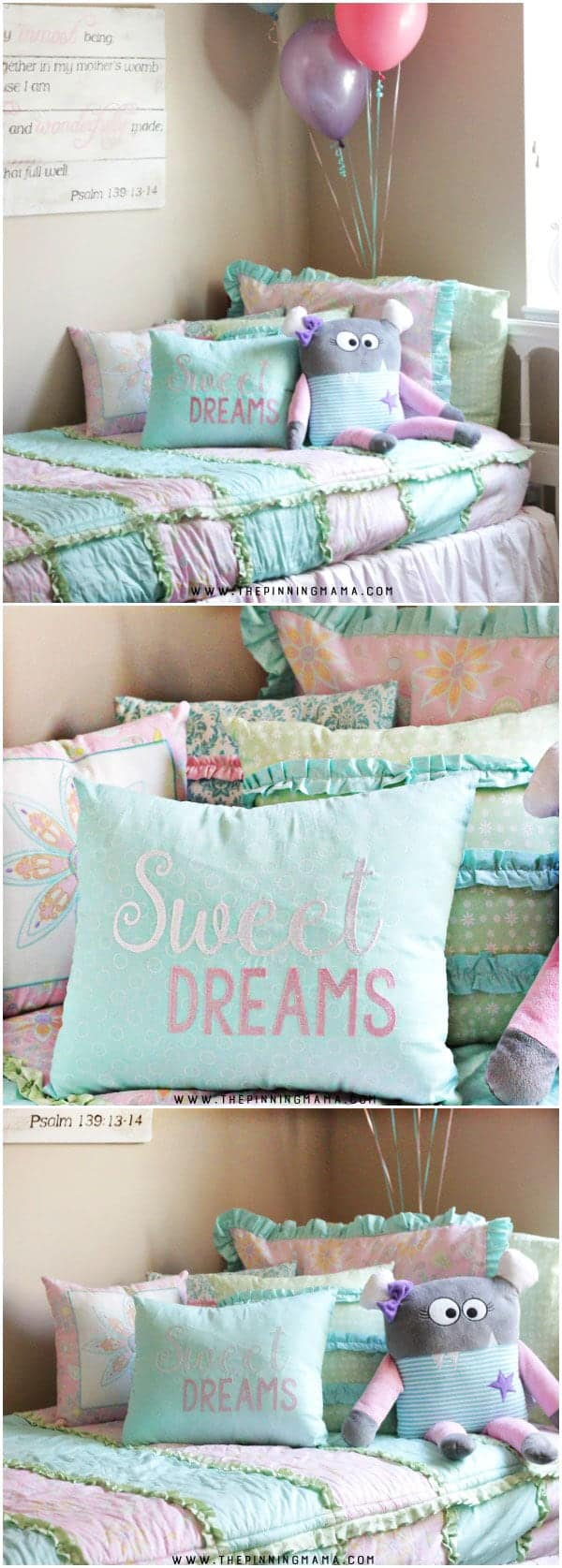 I absolutely love the details on this bedding for a shabby chic girls room! There are ruffles, embroidery, and all sorts of perfect details on it!