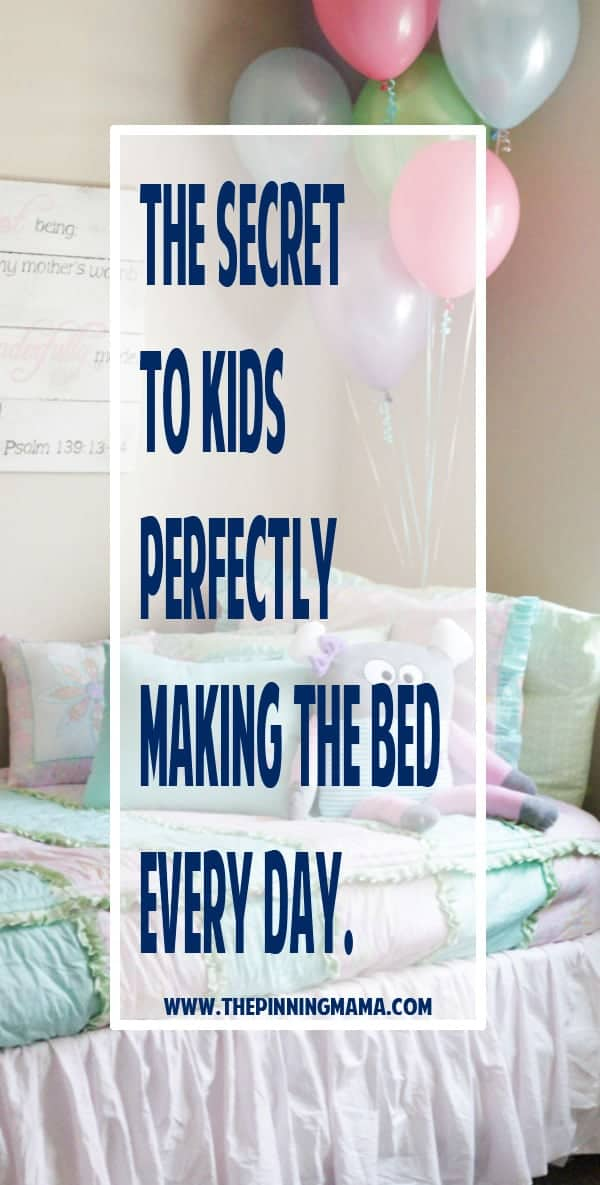 The SECRET to getting kids to perfectly make their bed every single day! This one thing changed our lives when it came to our small children being able to make their bed nicely and consistently. If you are a mom of preschoolers or elementary aged kids you NEED to take a look at this!