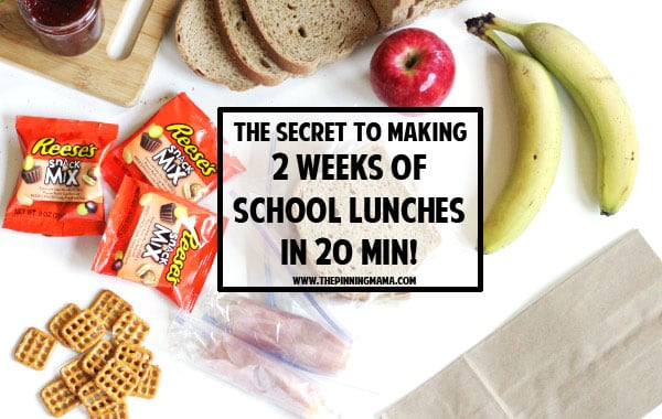 The SECRET to making 2 weeks of school lunches in 20 minutes! Genius lunch idea! I can totally do this with my kids and it makes the mornings so much quicker and easier! What a great hack!