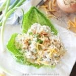 Loaded Chicken Salad Recipe - A classic chicken salad recipe that is amped up a notch with bacon, cheddar cheese, chives and a delicious secret ingredient! This is so DELICIOUS!!