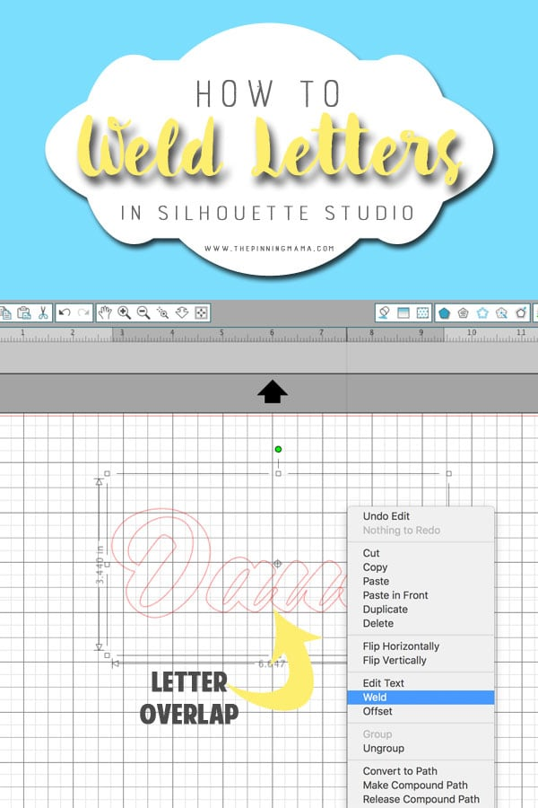 How to fix the overlapping letters when you cut with your Silhouette CAMEO. This simple step saves my sanity!!