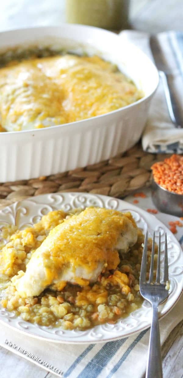 Salsa Verde Chicken Bake Recipe is the perfect dinner idea for busy week nights. It is packed with protein and fiber and it is naturally gluten free!!