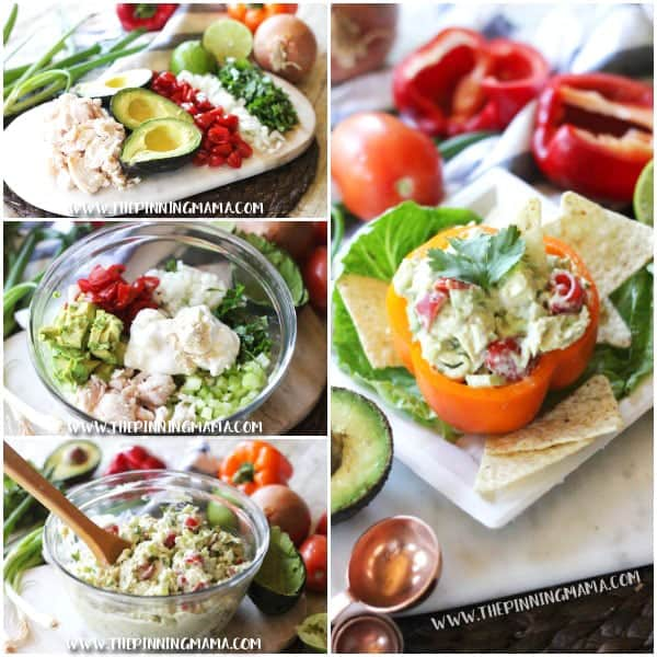Guacamole Chicken Salad Recipe- If you love guacamole, you will love this lunch idea! Creamy avocado, zesty cilantro, and tangy lime all make this pretty much the best easy meal ever!