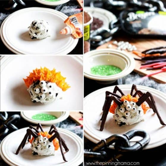 For when it is Halloween but still hot outside! GENIUS! These easy ice cream scoop spiders make a fun treat for Halloween or a bug themed birthday party. Everyone will rave over their absolute cuteness, and you can make them ahead of time for your party guests, or use it as a fun Halloween activity to make with your kids!