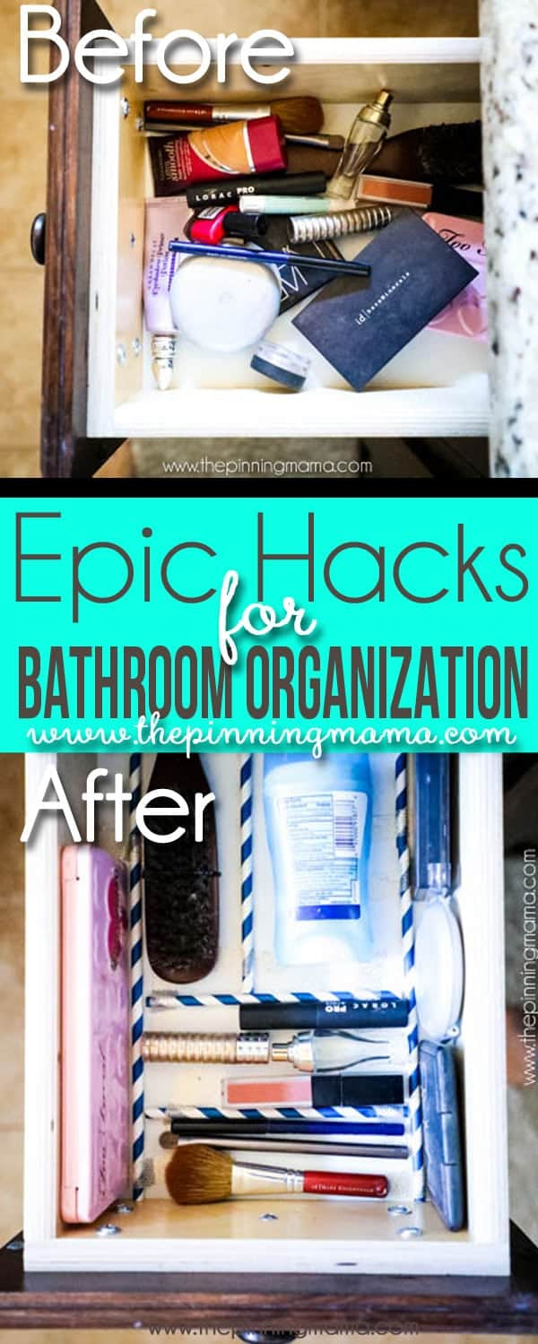 5 Bathroom Hacks to Keep Organized! These are so simple and super smart! Includes organizing ideas for make up, flat irons, hair spray and products, toilet paper, bath toys and more!