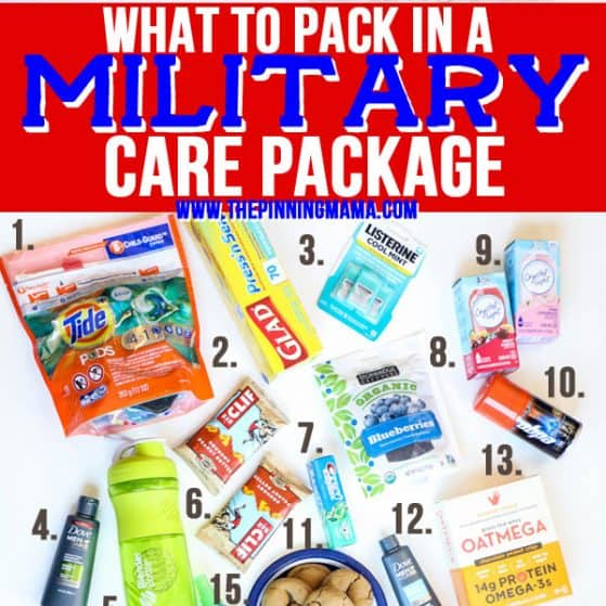 Over 30 ideas on what to pack in a military care package. This list is packed with practical, fun, and sentimental ideas to send to our troops over seas.