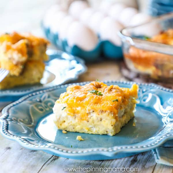 Breakfast Casserole with Sausage, egg, hashbrowns and cream cheese served with fruit and muffins