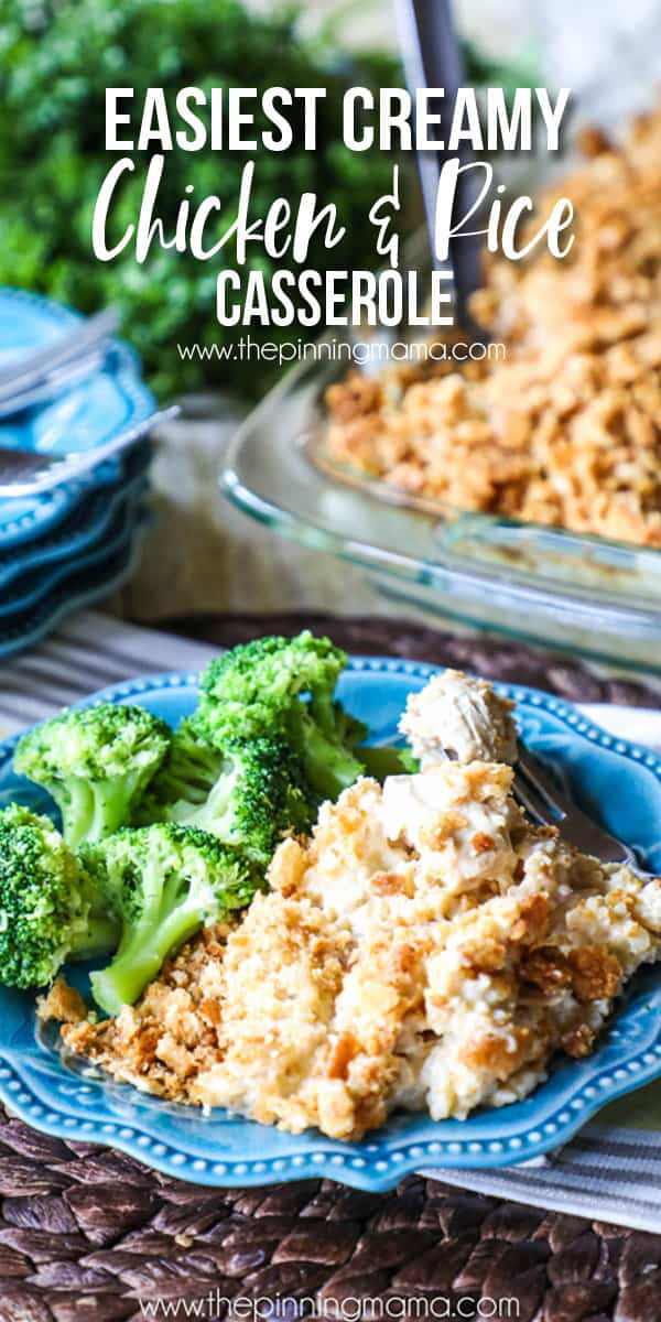 THIS is comfort food! 7 Ingredient Creamy Chicken & Rice Casserole. Perfect easy diner idea!