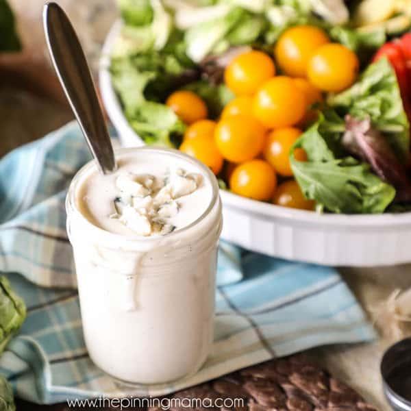 Creamy Gorgonzola Salad Dressing in a Mason Jar