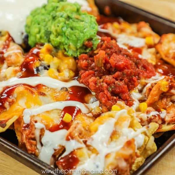BBQ Ranch Chicken Nachos on Pan