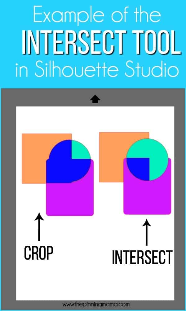 Example of the INTERSECT tool in Silhouette Studio.