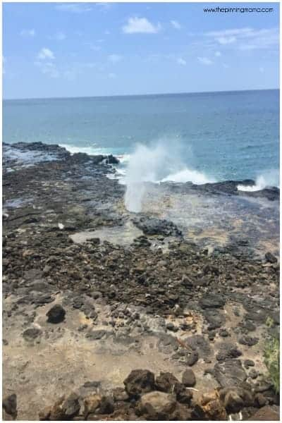 Watch this amazing blow hole named spouting horn near Poipu.