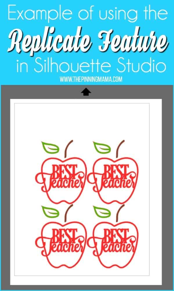 Example of using the replicate feature in Silhouette Studio.