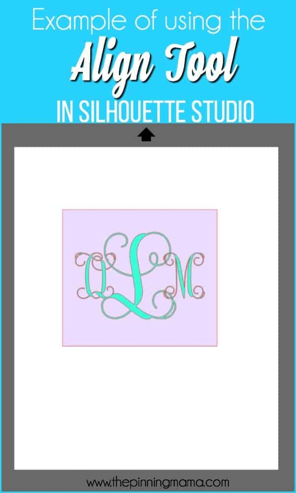Example of using the Align Tool in Silhouette Studio.