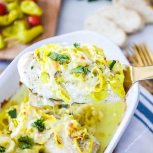 Oven Baked Mississippi Chicken - Packed with tangy banana peppers, and bold ranch flavor.