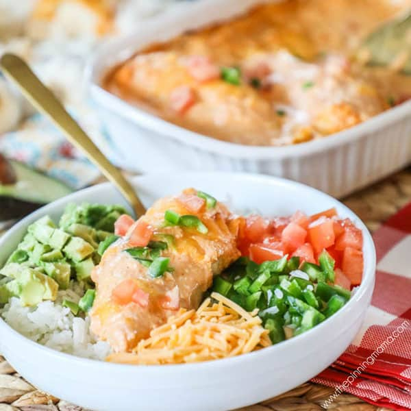 Chicken Enchilada Casserole served with veggies and rice