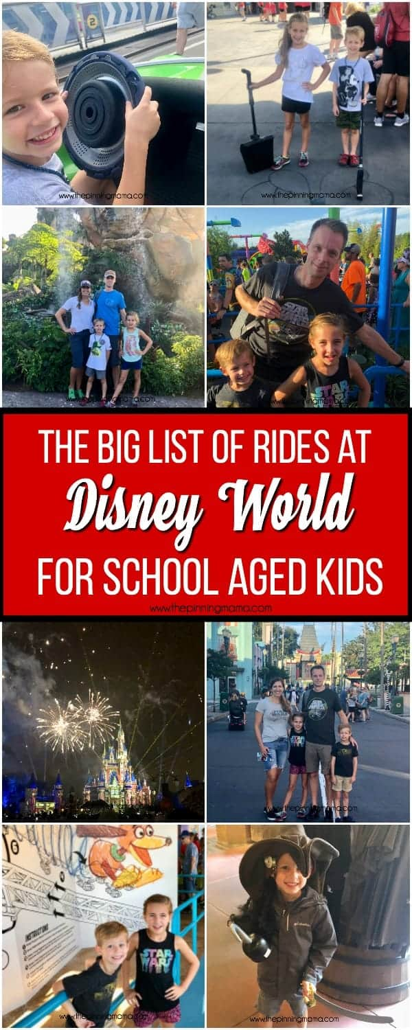 The big list of rides at Disney World for school aged kids.