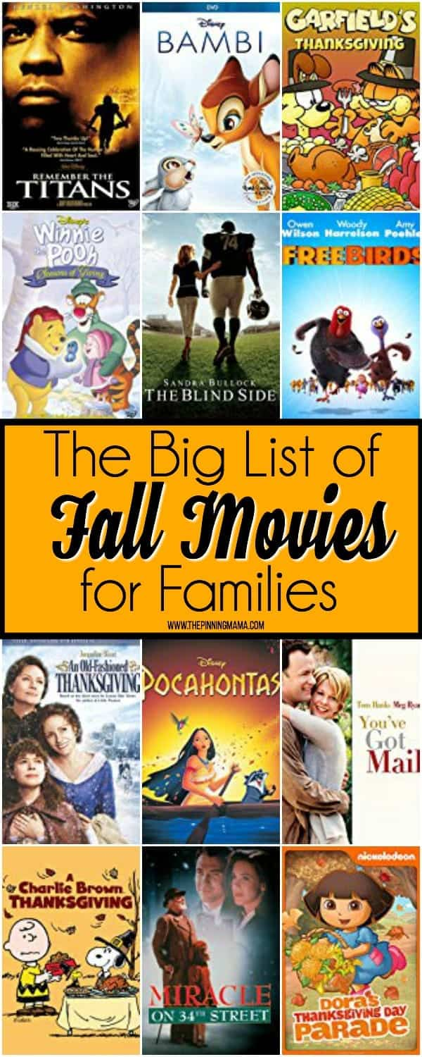 The Big List of Fall Movies for Families.