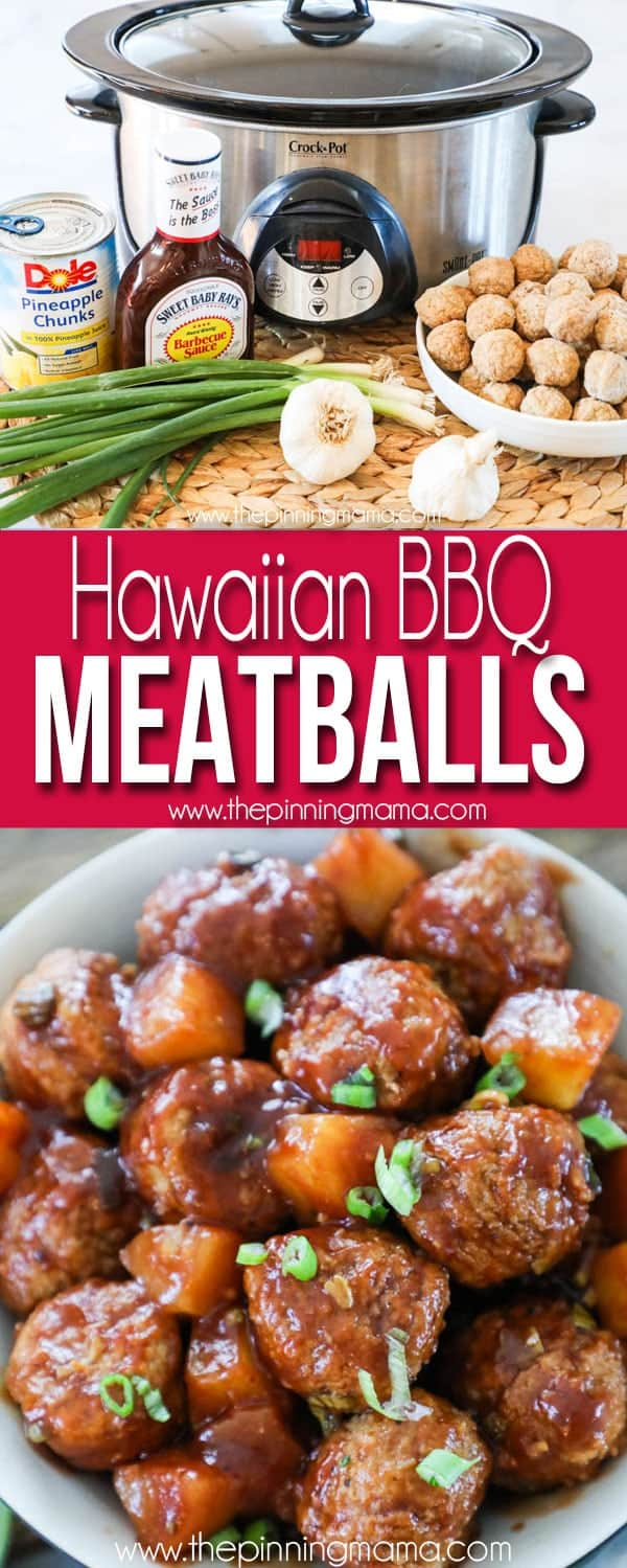 Hawaiian Barbecue Meatballs Recipe- Great for an appetizer or entree!