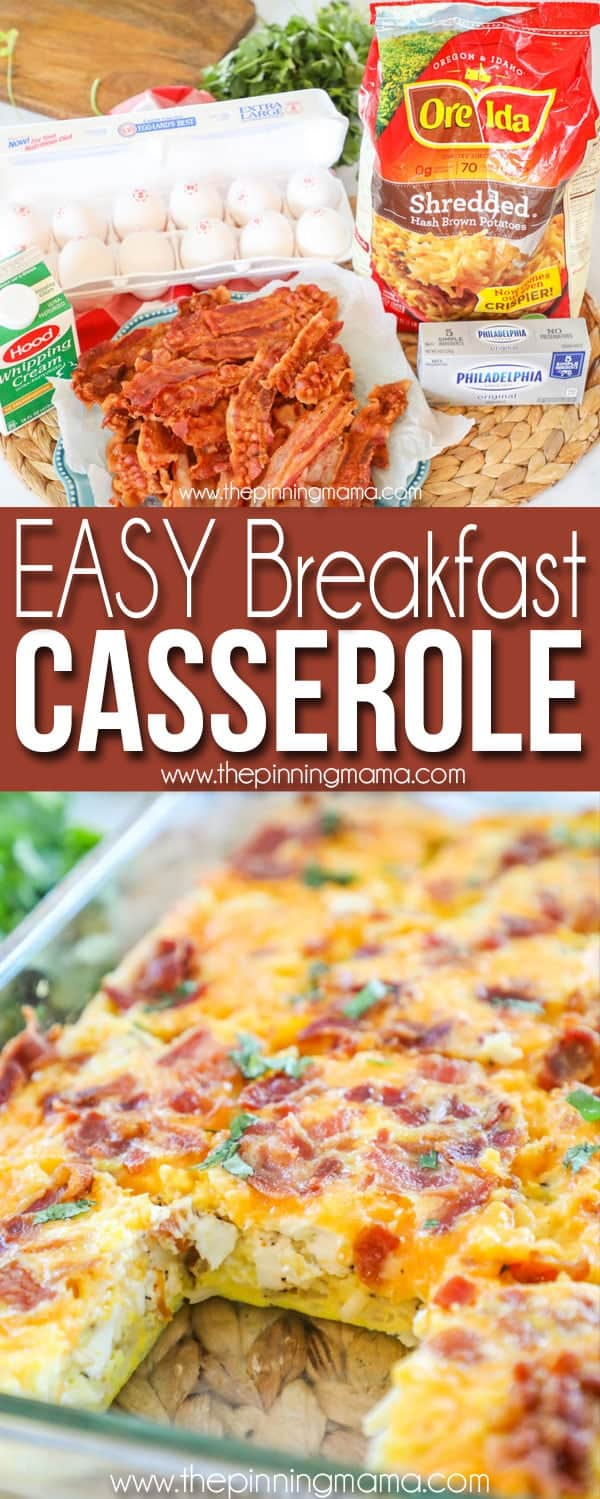 Easy Breakfast Casserole with Bacon Ingredients and Casserole Dish