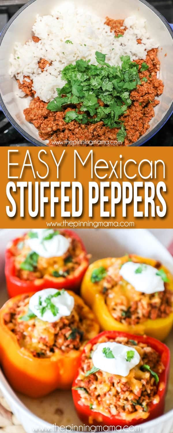 Easy Mexican Stuffed Peppers - Meat mixture with taco meat, rice and cilantro and baked in a casserole dish