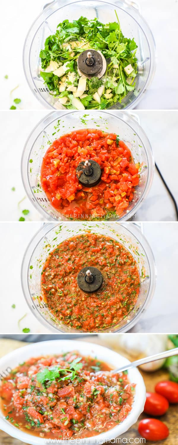Steps to making Whole30 Salsa.
